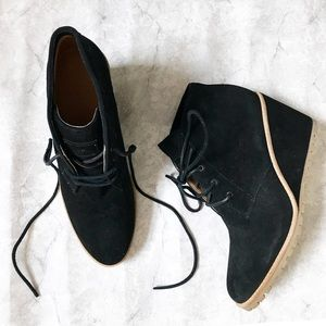 Coach Black Suede Karson Wedge Ankle Booties 9